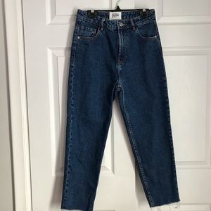 ZARA HIGH WAISTED ANKLE CROPPED JEANS